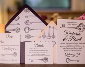Vintage Skeleton Key Wedding Invitations | Printable or Professionally Printed | Skeleton Key Drawing | Wedding Invitation Suite