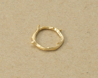 Round Branch Pendant , Branch Pendant, Jewelry Supplies, Brass Charm, Matte Gold Plated over Brass- 2 Pieces-[AP0099]-MG