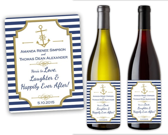 nautical wedding wine bottle label custom champagne bottle labels