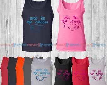 He is My King & She is My Queen - Matching Couple Tank Top - His and Her Tank Tops - Love Tank Tops