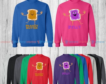 Peanut Butter & Jelly - Matching Couple Sweatshirt - His and Her Sweatshirts - Love Sweaters