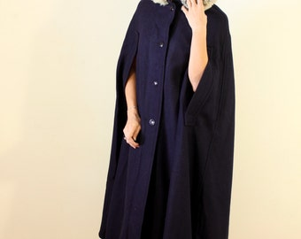 1950s Vintage Navy Blue Wool Cape Coat with a Hood