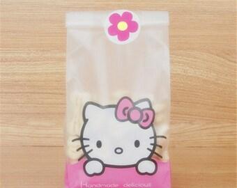 10 Pcs Animal Bunny Cat Dog Hello Kitty Self-adhesive Plastic Gift Bags