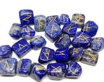 LAPIS LAZULI Runes Set for reiki healing, complete with pouch wicca pagan spirituality rune stones tumbled stones