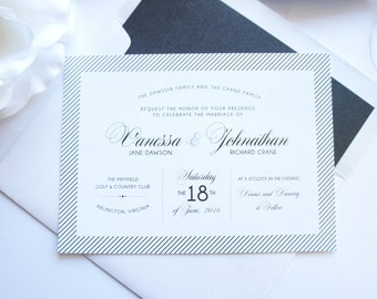 Black Wedding Invitations, Modern Wedding Invitations, Black and White Wedding Invitation, Modern Wedding Invitation Set - SAMPLE SET