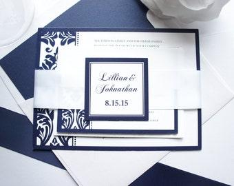 Elegant Wedding Invitation, Navy Blue Wedding Invitations, Blue Wedding Invitation, Damask, Elegant Wedding Invitation Set - SAMPLE SET