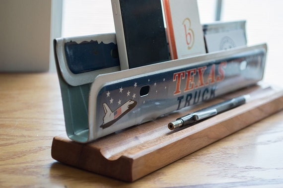 Texas License Plate Desk Organizer - Desk Phone Stand - Metal Business ...