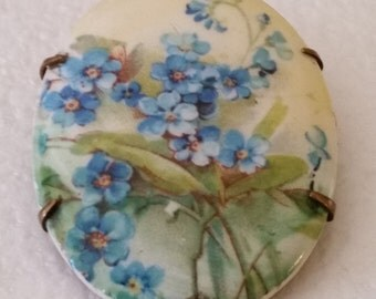 Vintage Antique Hand Painted Porcelain Brooch Pin Tiny Blue Flowers