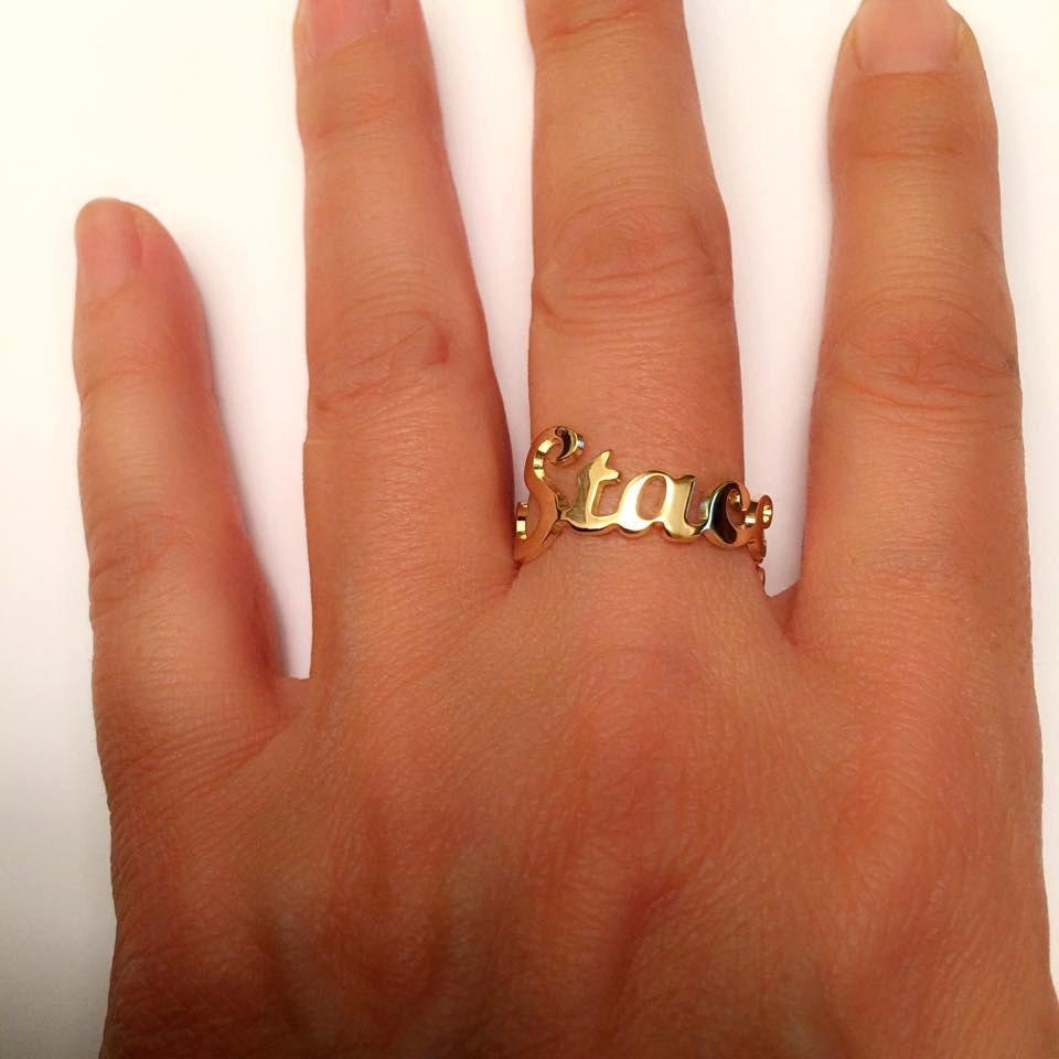 Wedding Ring On Chain Boy Or Girl: Name Ring Gold Ring Name Initial Ring Custom Ring