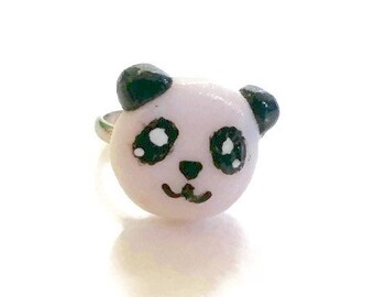 Panda Adjustable Pinky Ring - Polymer Clay Pinky Ring - Polymer Clay Jewelry - Cute Ring - Panda Jewelry