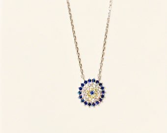 Evil Eye Necklace in 925 Sterling Silver and Cubic Zirconia • Waterproof • Best Price on Etsy • Eye Jewelry Gifts Are Trending Now