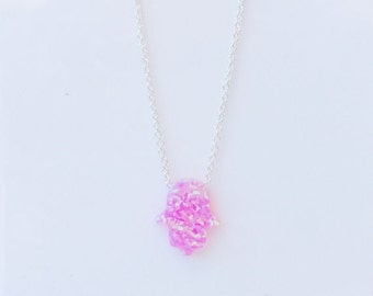 "Pink opal hamsa hand necklace from size 12"" to 18"" inch long chain in sterling silver box or link chain, waterproof, BEST ONLINE PRICE"