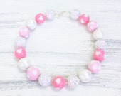 Pink And White Valentine's Day Chunky Bubblegum Necklace with Hearts, Sparkle Necklace, Pink Heart Necklace, Girl Toddler Necklace