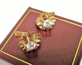 Gorgeous Antique Victorian 10k Gold Buttercup Setting Paste Latch Back Earrings