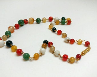 Vintage stone beads necklace semi precious stones