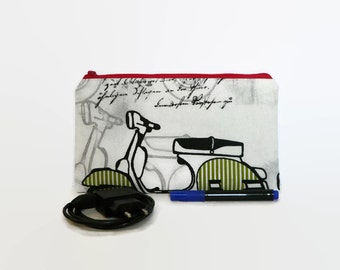 Vespa pencil case, scooter pouch, Make up bag, stationary, teacher gift, make up case, pencil pouch, stationary, back to school