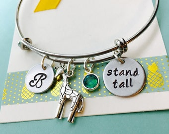 Giraffe Bracelet, Giraffe Jewelry, Stand Tall, Be Different, Adjustable Bracelet, Giraffe Charm Bracelet, Personalized Initial Jewelry,
