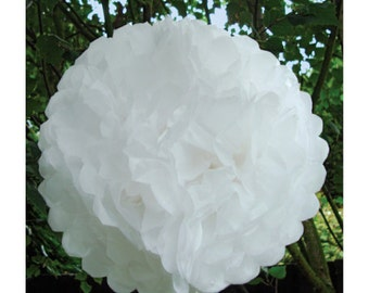 White tissue paper pom pom decorations - DIY white wedding tissue pom pom decoration kit, 5 tissue paper pom poms with string