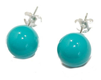 Turquoise Round Ball 9mm .925 Sterling Silver Stud Earrings - Turquoise Earrings