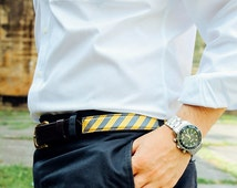 Yellow and Navy Stripe Belt