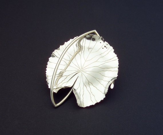 Brooch Sterling Silver Water Lily Brooch Pin Robyn Nichols Artist Handmade Sterling Silver Museum Unique Beautiful Statement