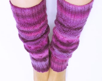 Hand Knitted Acrylic Leg Warmers for Women, size S-M. Purple -Lilac color. (a little darker than in pictures)