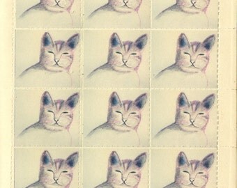 Hand Drawn Cat Stamps