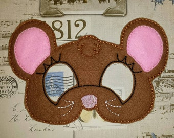 Cute mouse mask ITH Project In the Hoop Embroidery Design Costume, Cosplay, Fancy dress, Masquerade, Photo booth, Prop.