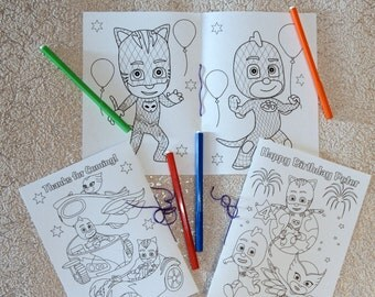 PJ Masks Birthday Party coloring pages, activity book, PDF file