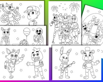 Five Nights at Freddy coloring pages, Five Nights at Freddy Birthday Party Favor, Instant Download, PDF file