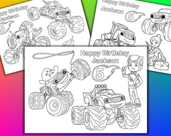 Personalized Blaze And The Monster Machines Coloring Pages Activity Book PDF