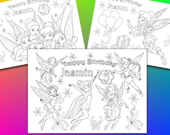 Personalized Tinkerbell Birthday Party coloring pages, activity PDF file