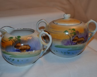 Vintage Sugar Bowl & Cream Pitcher