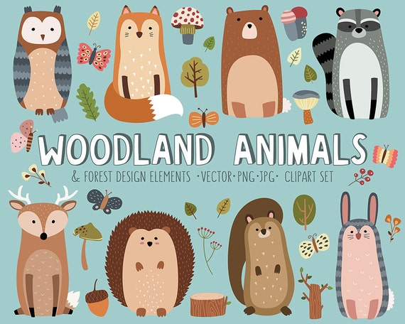 Woodland Clipart Set - Cute Woodland Forest Animals Vector ...