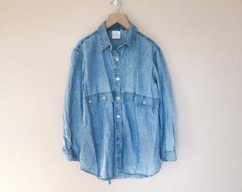 western style denim button down shirt // vintage