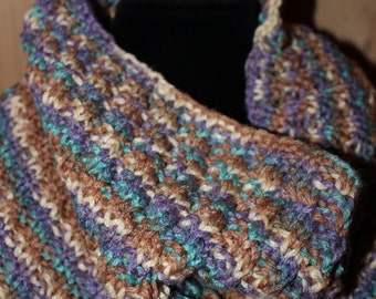 """Inifiniti Cowl - Hand Knit Scarf - Inifiniti Scarf - Scarf - Hand Knit Infiniti Spiral Cowl in """"Southwest"""" - Spiral Cowl"""