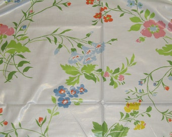 Vintage White Cotton Floral Fabric by the Yard