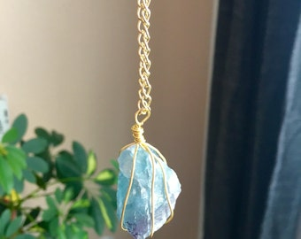 Blue and Purple Fluorite Wire Wrapped Necklace on Gold Chain