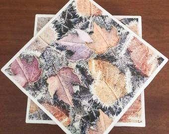 Fall coasters, leaf coasters, ceramic tile coasters, tile coasters, drink coasters, bar coasters, table coasters