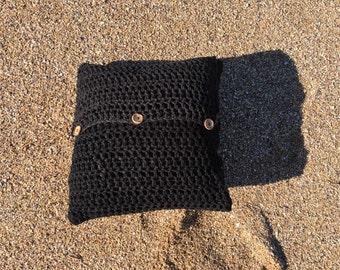 Crochet Cushion - Crochet Pillow - Cushion Cover - Knitted Cushion - Pillow Sham - Black Cushion - Knit Pillow Sham - Boho Pillow Cover