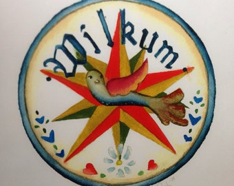 Pennsylvania Dutch Wilkum Handpainted Watercolor Original Hex Sign