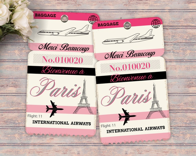 Luggage tag, favor tag, Thank you, French, Paris, Girl's birthday party- travel birthday party- Paris, Eiffel tower, tag