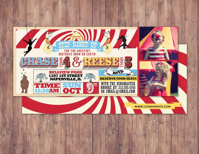 Birthday circus ticketcarnival ticket invitation vintage – Carnival Ticket Birthday Invitations