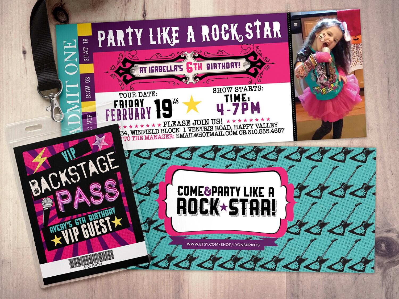 Pop star Rock Star concert ticket birthday party invitation – Rock Star Party Invitations