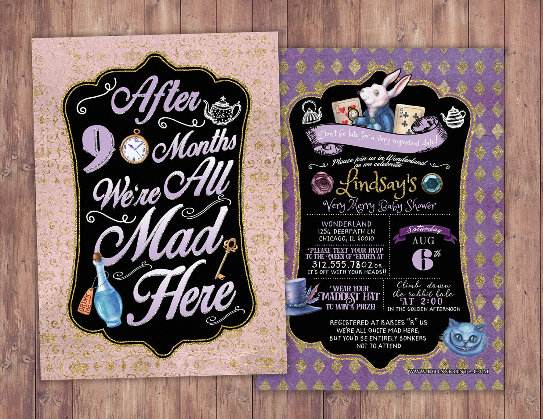 Mad Hatter Tea Party, Alice in Wonderland Invitation / First ...