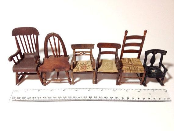 Miniature Red Rocking Chair ~ Antique miniature rocking chair dollhouse chairs