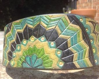 Geometric Leaf Mandala -- Tooled Leather Dog Collar