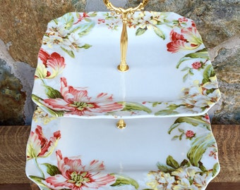 Beautiful floral square tiered stand