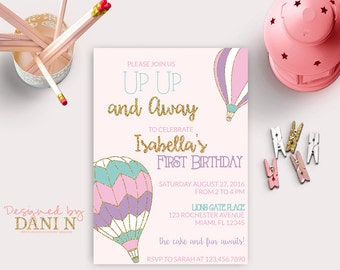Up Up and Away Birthday Invitation, 1st Birthday Hot Air Balloon Invite, Pink and Purple Party Invitation, Balloon Invitation, Gold Glitter