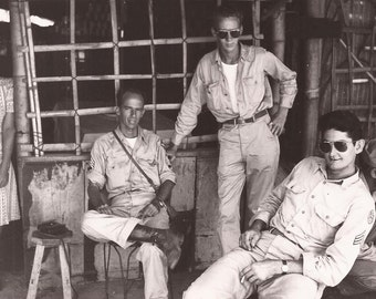 Soldiers Taking a Break, Vintage Photograph, Black and White Photo, Historical Photo, Philippines, Soldiers in Dark Glasses, Uniforms